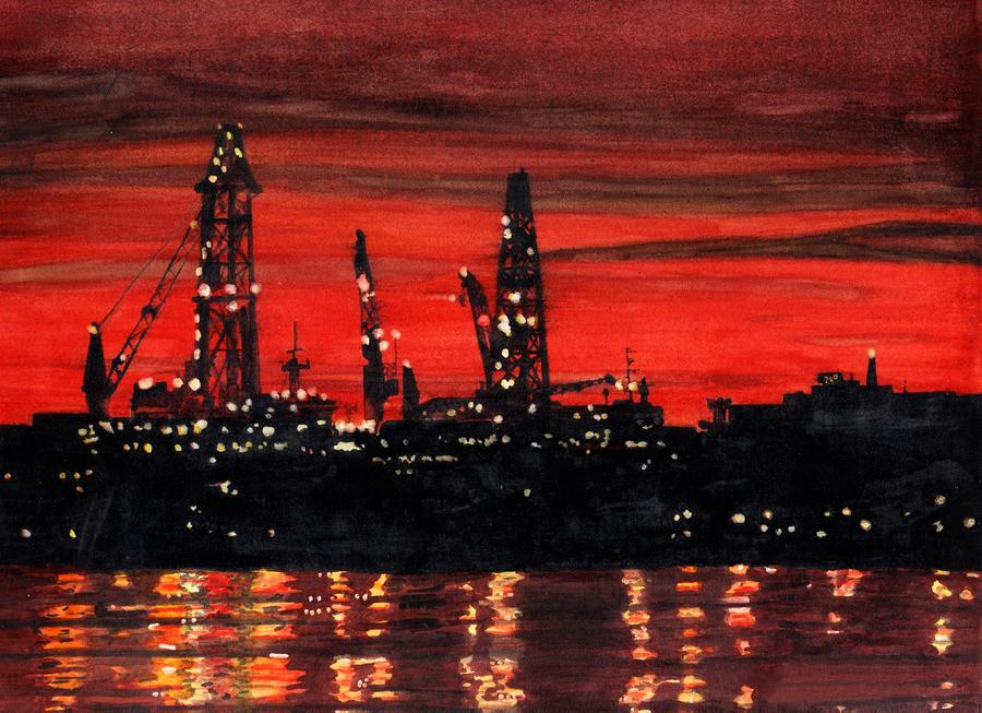 Oil Rigs Night Construction Portland Harbor Painting  - Oil Rigs Night Construction Portland Harbor Fine Art Print