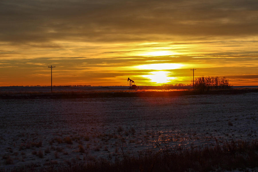 Oil Well Sunset Photograph  - Oil Well Sunset Fine Art Print