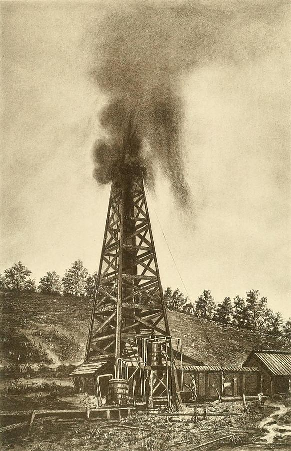 Oil Well With A Gusher In The Oil Photograph  - Oil Well With A Gusher In The Oil Fine Art Print