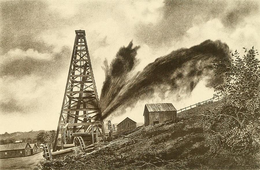Oil Well With A Side Flowing Gusher PhotographOil Well Gusher