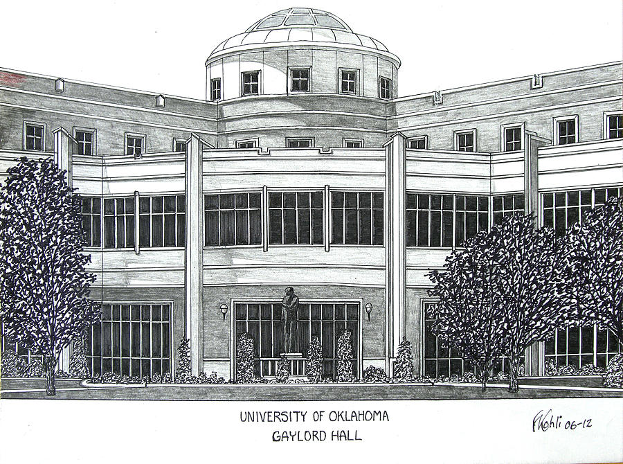 University Of Oklahoma Campus Buildings Drawings Drawing - Oklahoma by Frederic Kohli