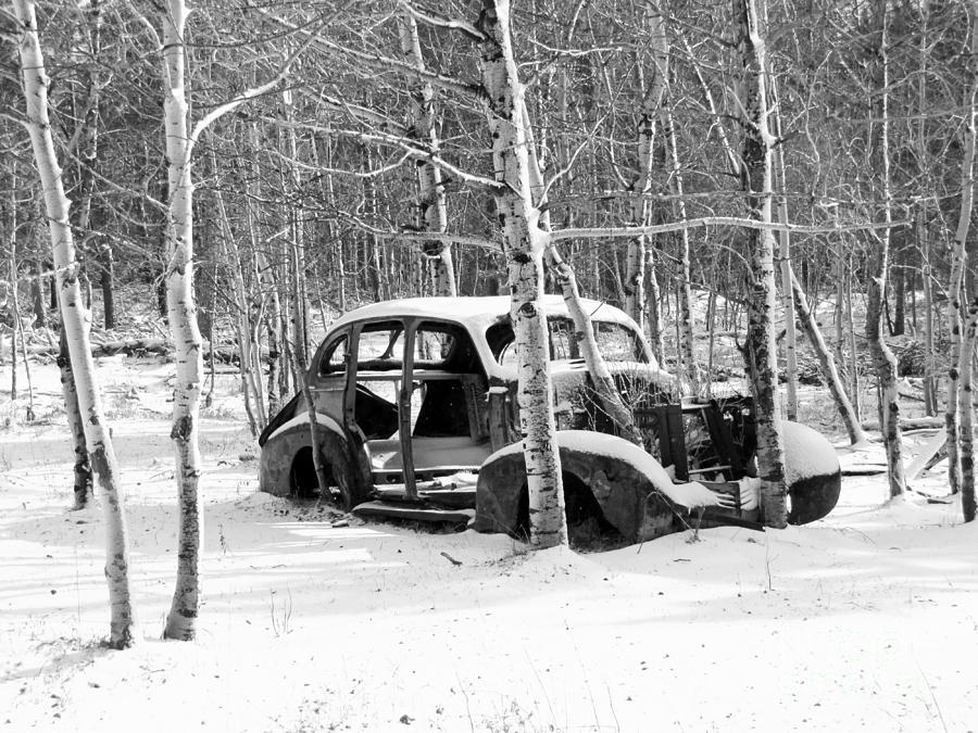 Ol Car In White And Black Photograph