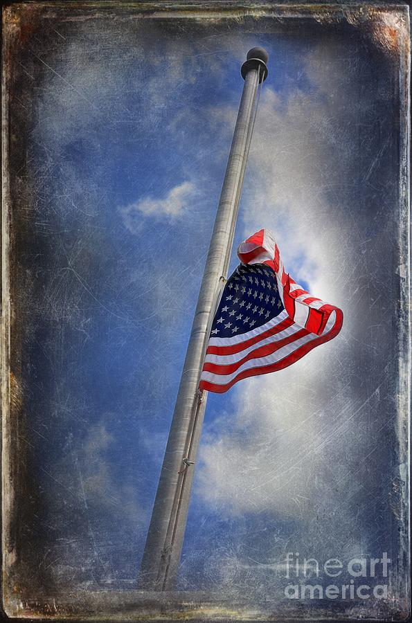 Ol Glory At Half Mast Photograph  - Ol Glory At Half Mast Fine Art Print