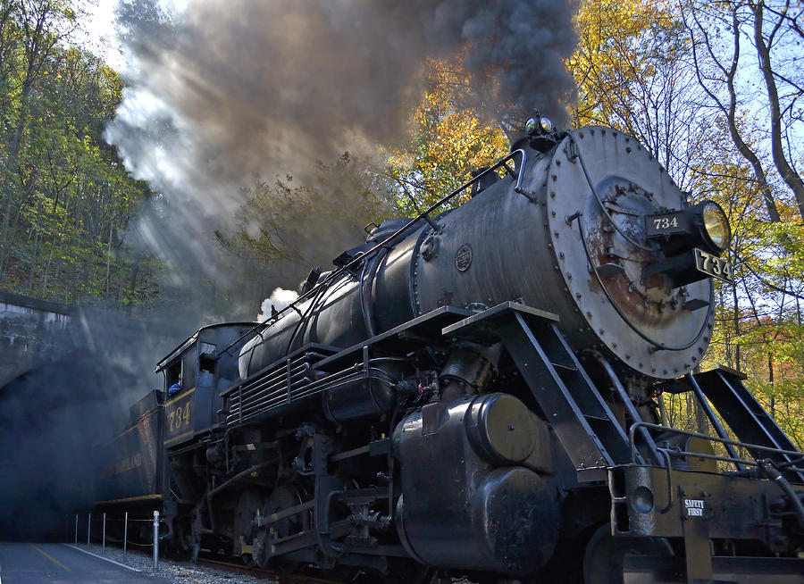Old 734 Locomotive Train On The Western Maryland Scenic Railroad Photograph