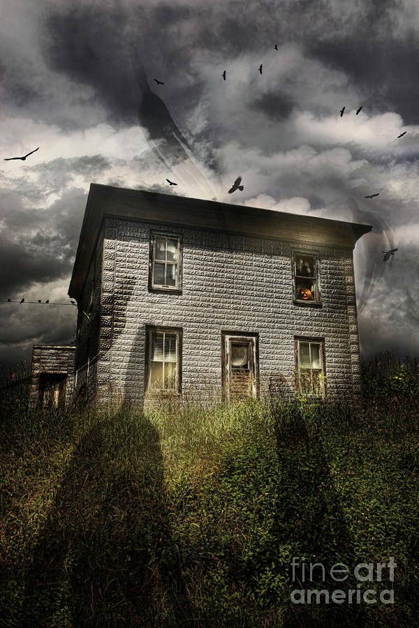 Old Ababdoned House With Flying Ghosts Photograph  - Old Ababdoned House With Flying Ghosts Fine Art Print