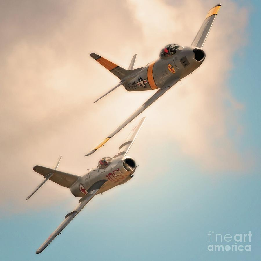 Old Adversaries F-86 Sabre And Mig 15  2011 Chino Air Show Photograph  - Old Adversaries F-86 Sabre And Mig 15  2011 Chino Air Show Fine Art Print
