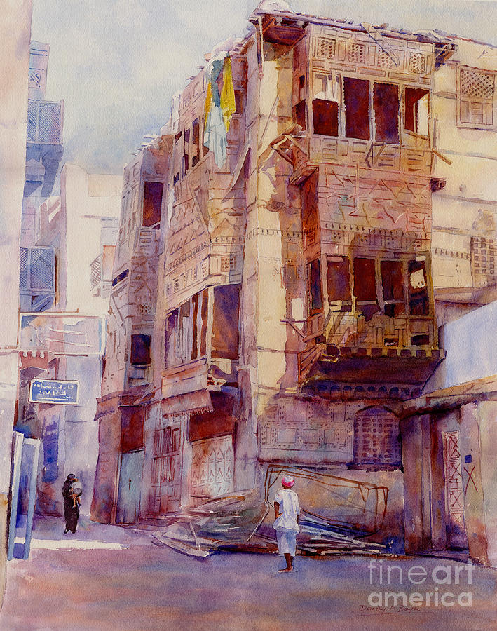 Old alleyway with figure by dorothy boyer for Art cuisine jeddah