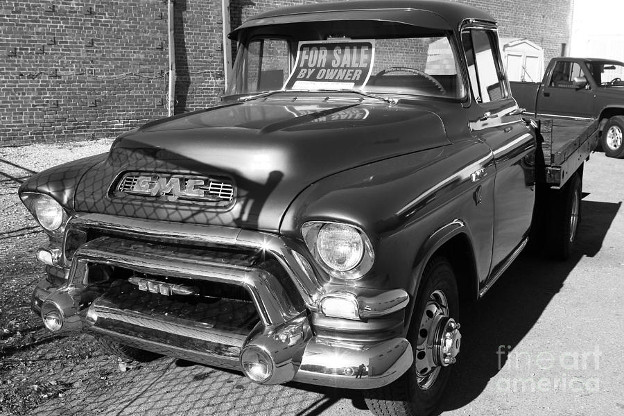 Old American Gmc Truck . 7d10665  . Bw Photograph
