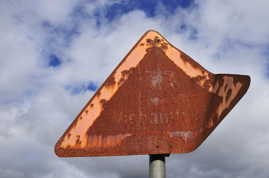 Old And Rusty Traffic Sign Photograph