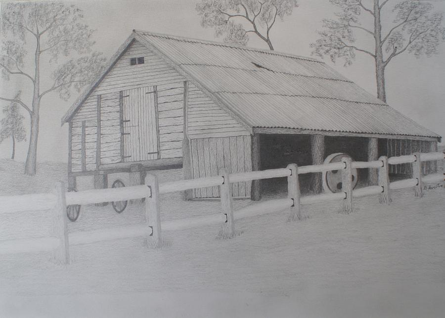 Old Barn Drawing - Old Austane Barn by Brian Leverton
