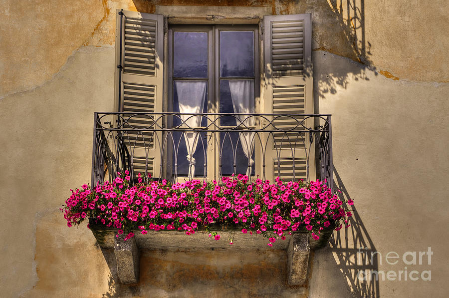 Old Balcony With Red Flowers Photograph  - Old Balcony With Red Flowers Fine Art Print