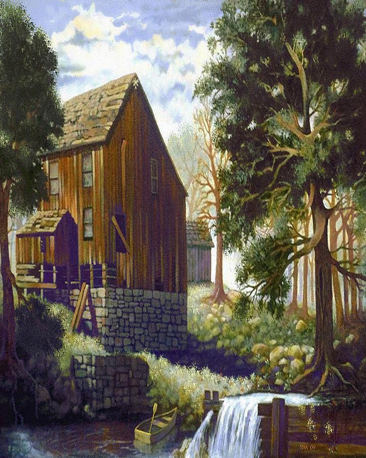 Old Barn At Riverbend Painting