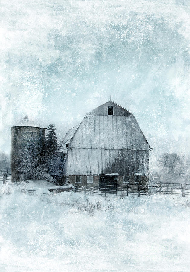Old Barn In Winter Snow Photograph  - Old Barn In Winter Snow Fine Art Print