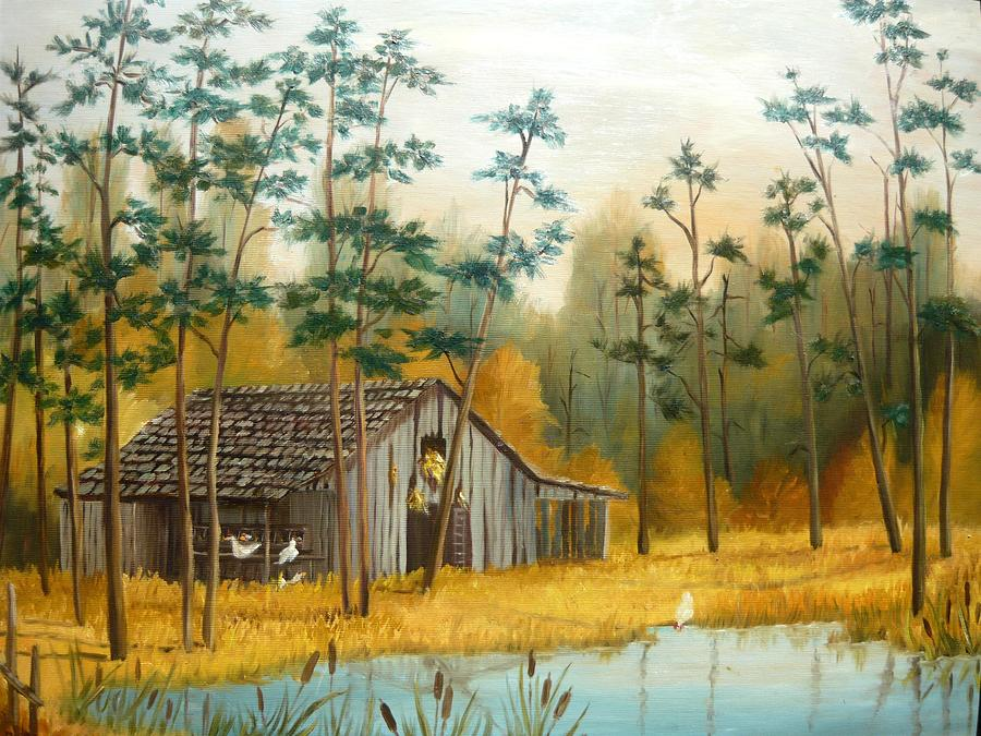 Old Barn With Chickens Painting  - Old Barn With Chickens Fine Art Print
