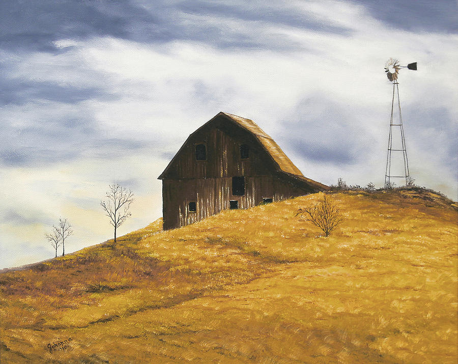 Old Barn With Windmill Painting
