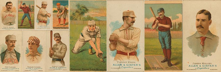 Old Baseball Cards Collage Photograph  - Old Baseball Cards Collage Fine Art Print