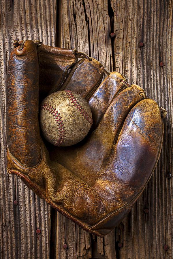 Old Baseball Mitt And Ball Photograph