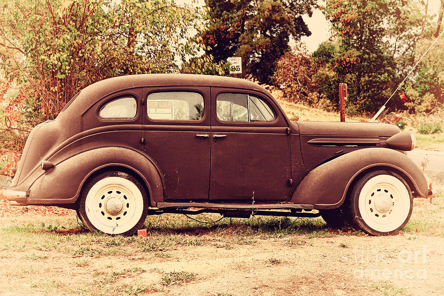Old Black Plymouth Car For Sale . 7d8836 Photograph