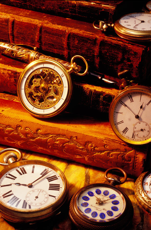 Old Books And Pocket Watches Photograph  - Old Books And Pocket Watches Fine Art Print
