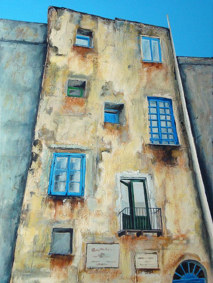 old building medieval quarter capri painting old
