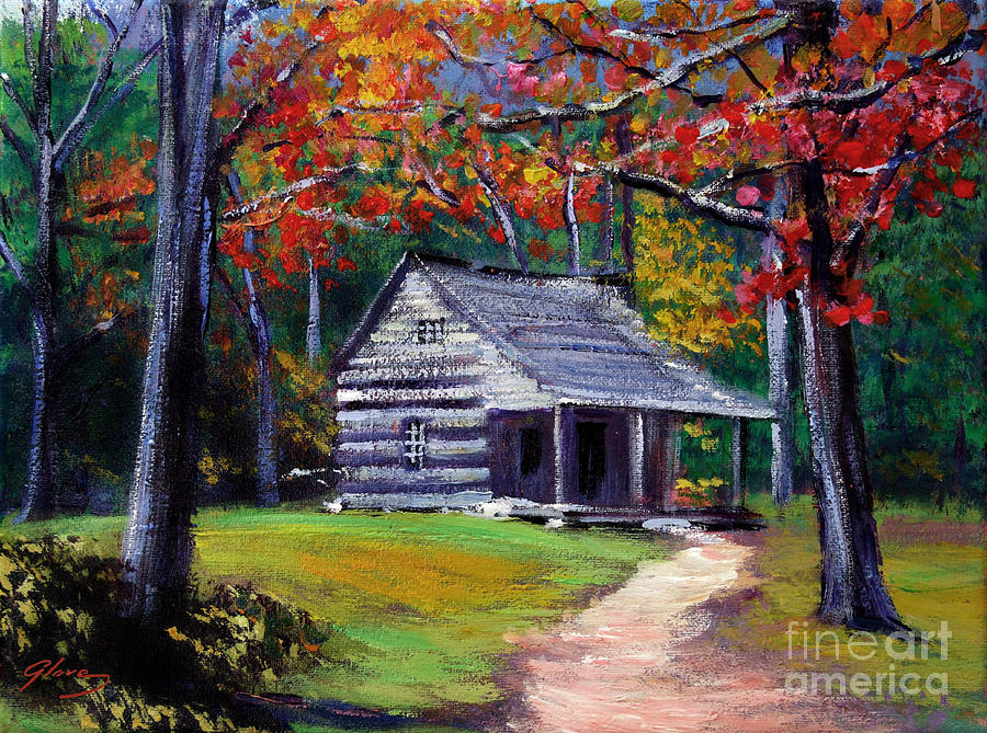 Log Cabin Paintings ~ Old cabin plein aire by david lloyd glover