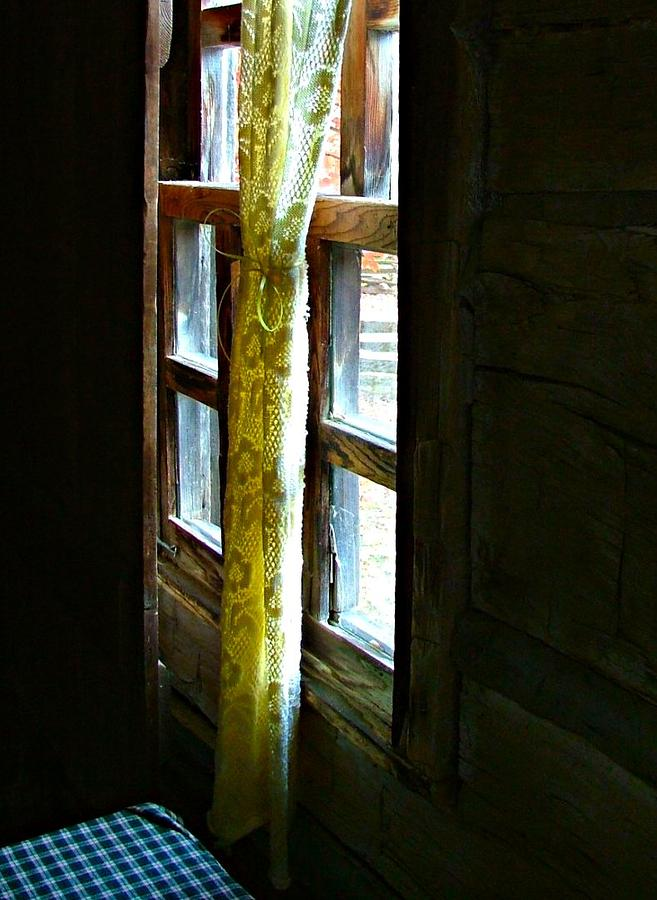 Old Cabin Window With Lace