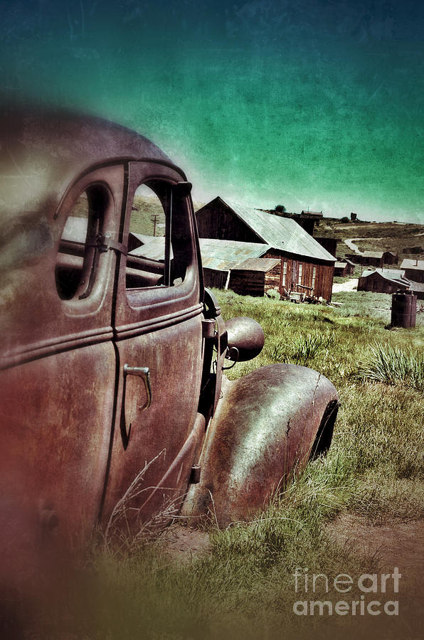 Old Car And Ghost Town Photograph  - Old Car And Ghost Town Fine Art Print