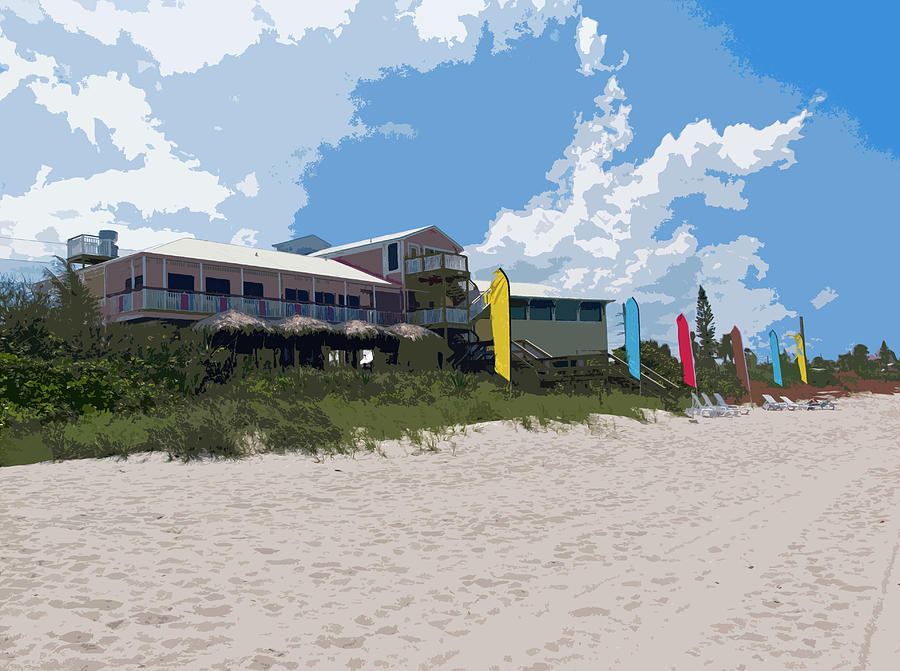 Old Casino On An Atlantic Ocean Beach In Florida Painting  - Old Casino On An Atlantic Ocean Beach In Florida Fine Art Print