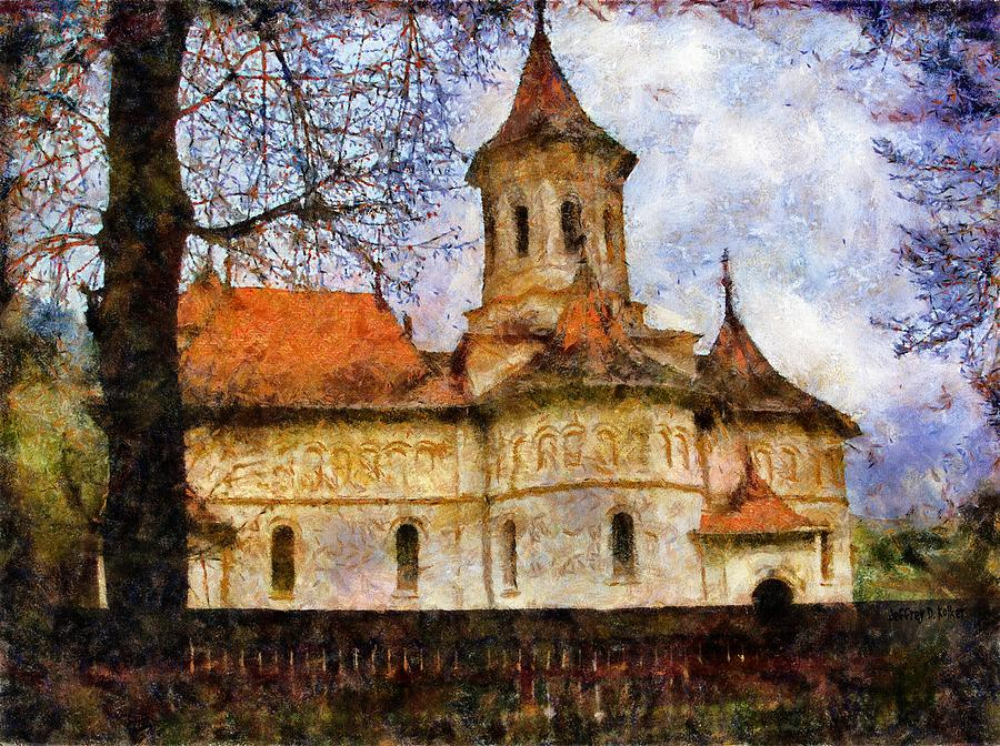 Old Church With Red Roof Painting