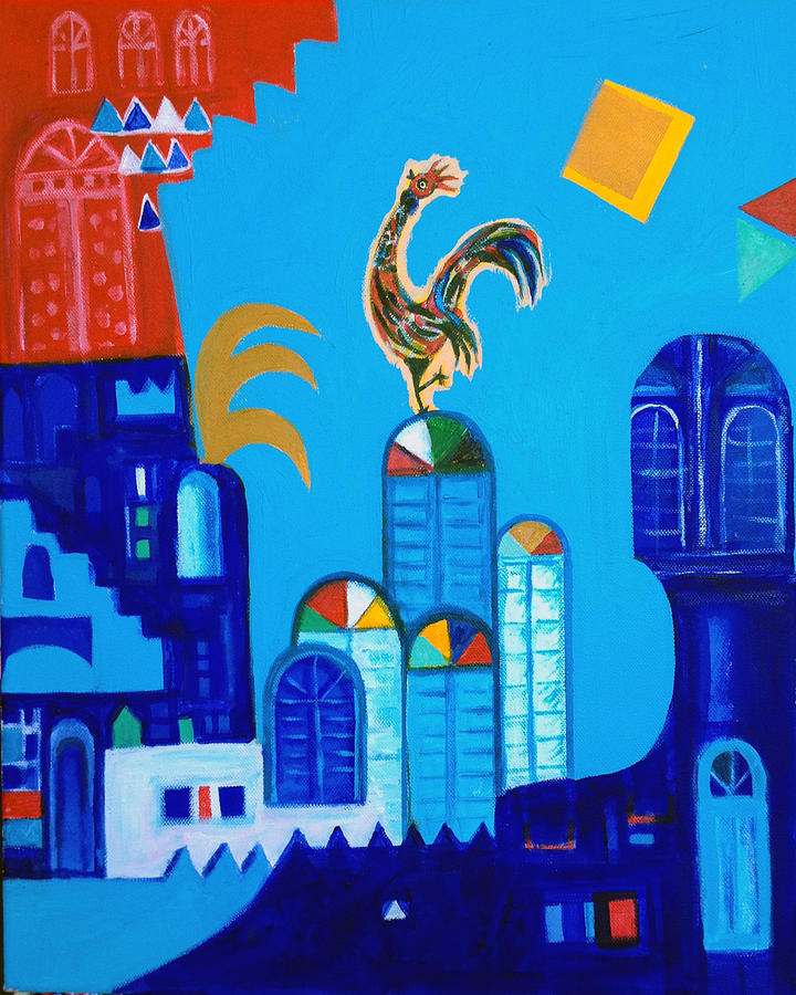 Old City And A Rooster Painting