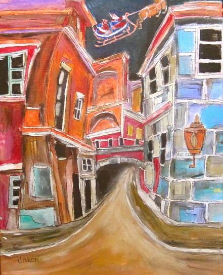 Bridge Painting - Old City by Michael Litvack