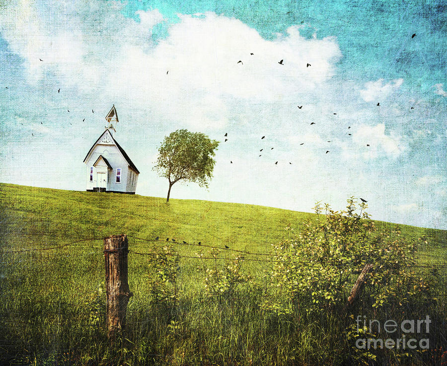 Old Country School House  On A Hill  Photograph  - Old Country School House  On A Hill  Fine Art Print