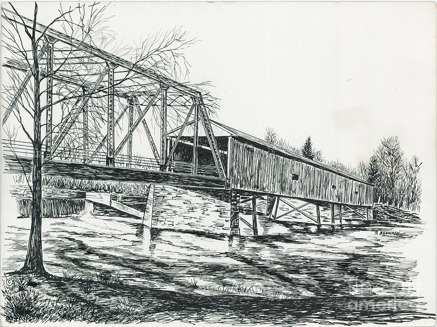 Old Covered Bridge Painting