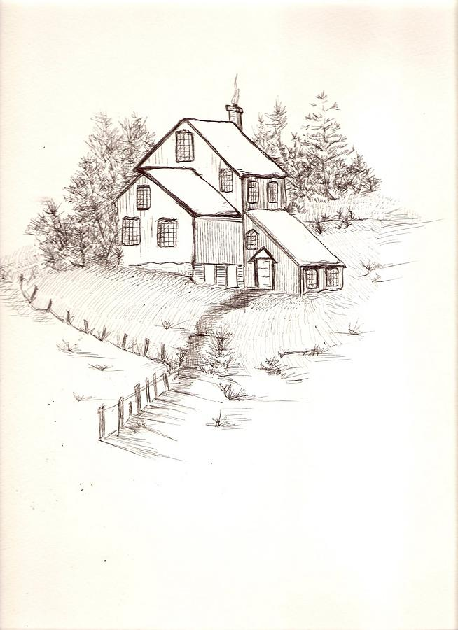 Old farmhouse by barbara cleveland for Farm house drawings