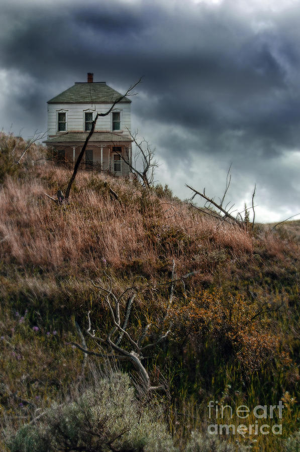 Old Farmhouse With Stormy Sky Photograph  - Old Farmhouse With Stormy Sky Fine Art Print