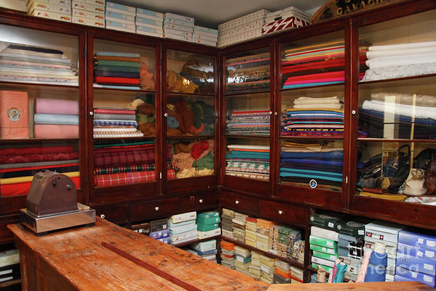 Old-fashioned Fabric Shop Photograph  - Old-fashioned Fabric Shop Fine Art Print