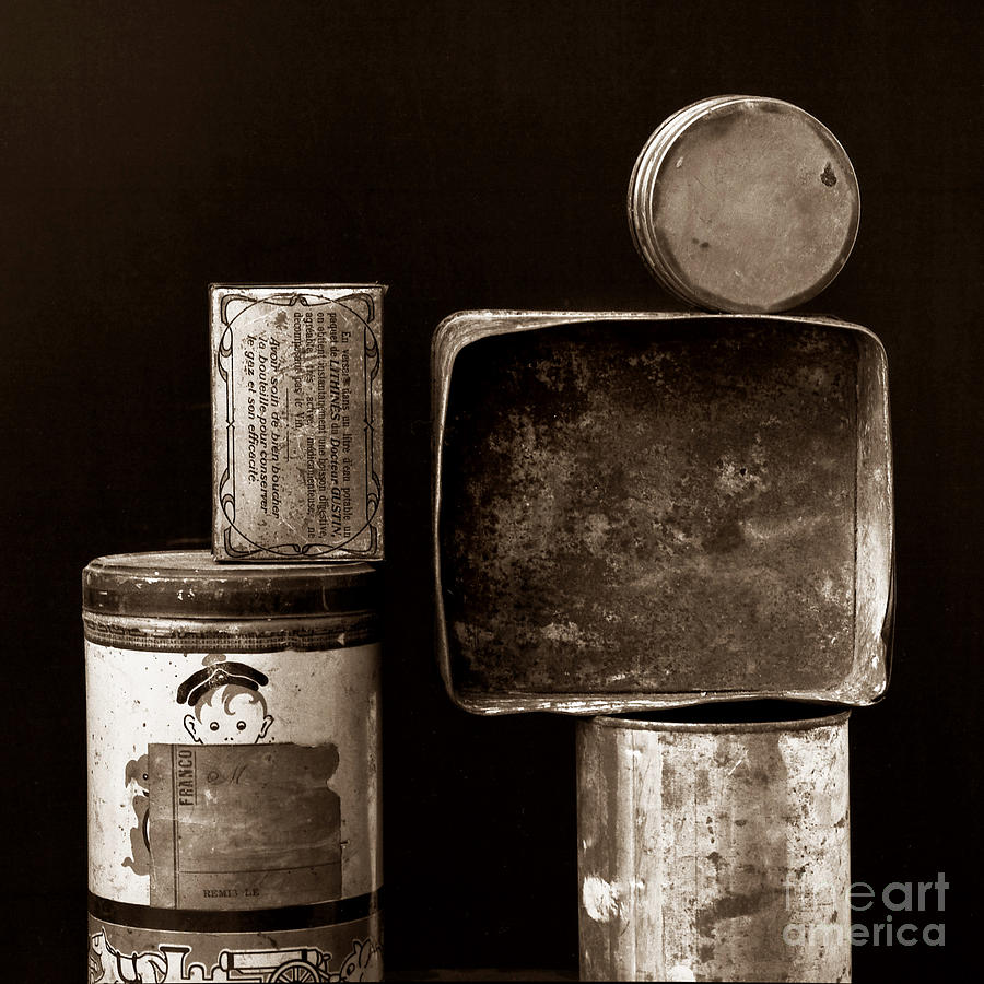 Old Fashioned Iron Boxes. Photograph