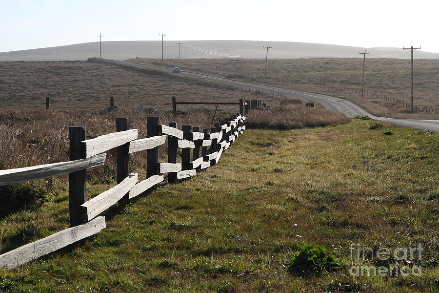 Old Fence And Landscape Along Sir Francis Drake Boulevard At Point Reyes California . 7d9897 Photograph