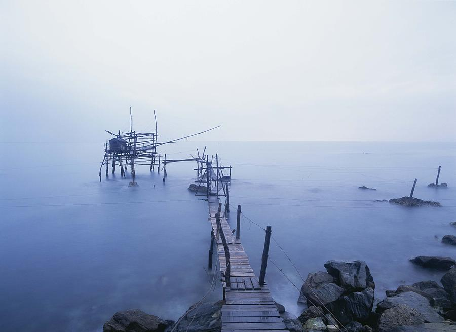 Old Fishing Platform At Dusk Photograph