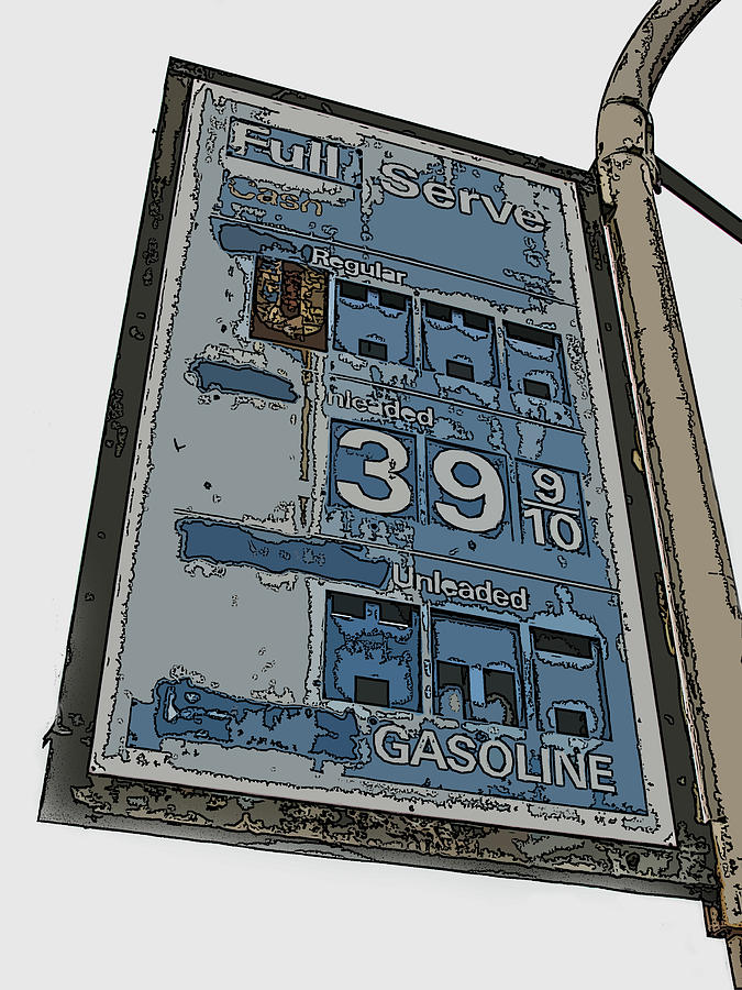 Old Full Service Gas Station Sign Photograph