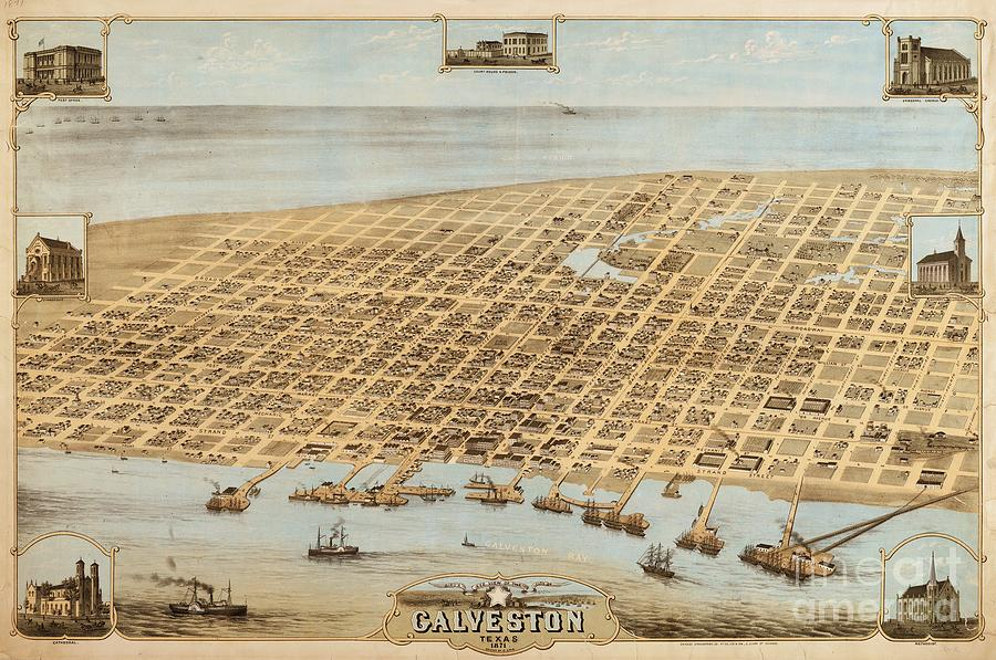 Old Galveston Map Drawing  - Old Galveston Map Fine Art Print
