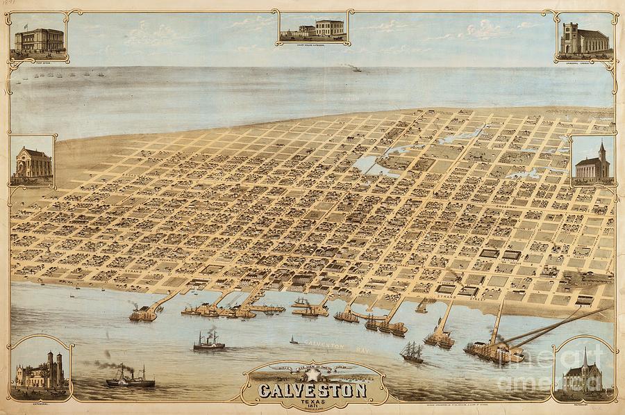 Old Galveston Map Drawing