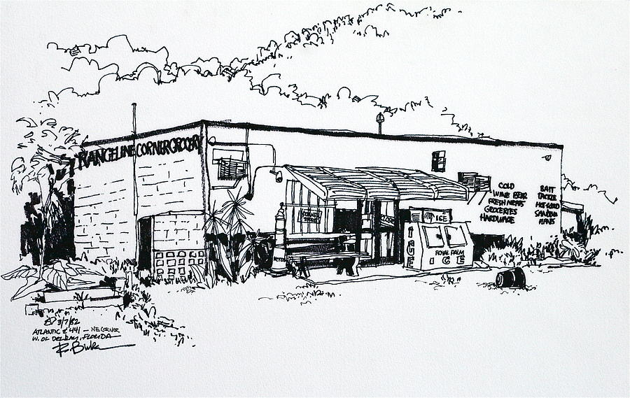 Old Grocery Store - W. Delray Beach Florida Drawing  - Old Grocery Store - W. Delray Beach Florida Fine Art Print