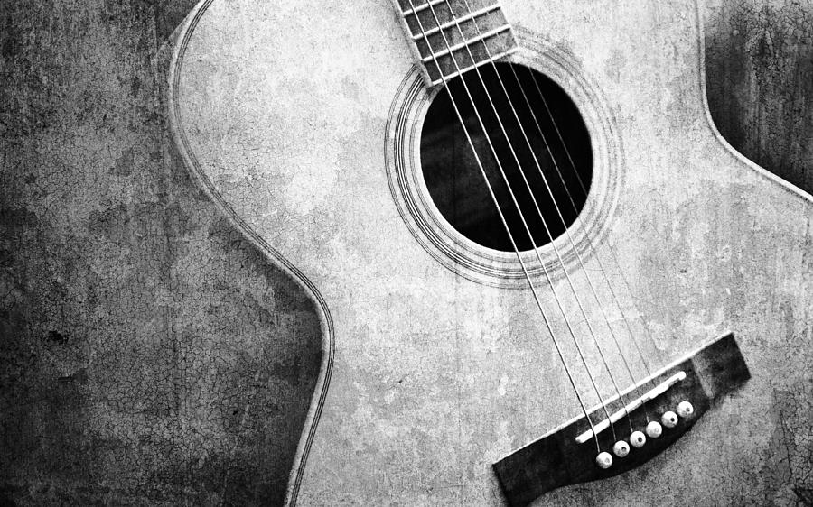 Old Guitar Black And White Photograph