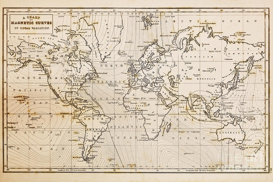 Old Hand Drawn Vintage World Map Photograph