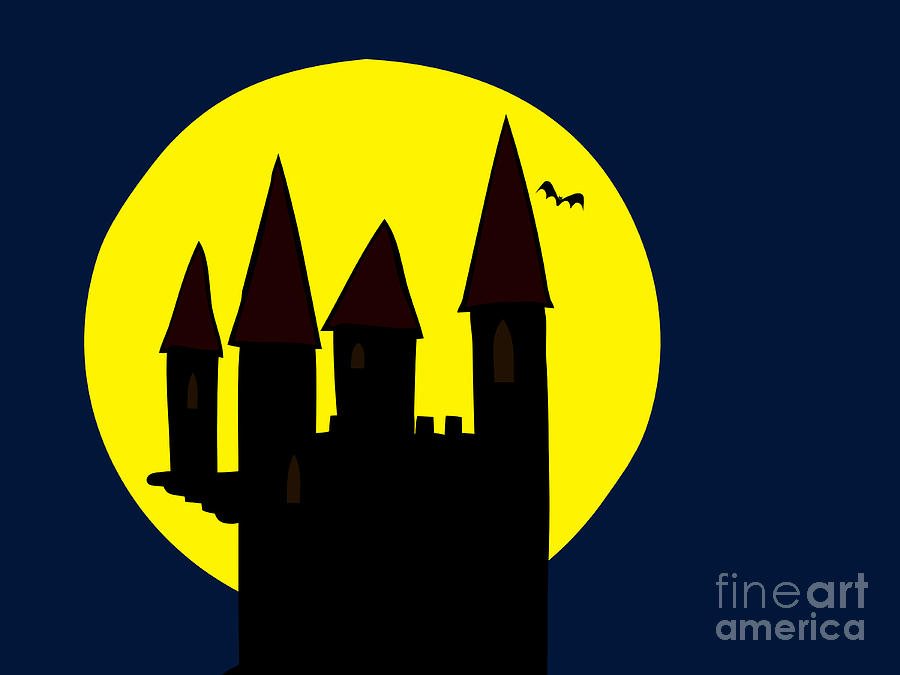 Old Haunted Castle In Full Moon Drawing  - Old Haunted Castle In Full Moon Fine Art Print