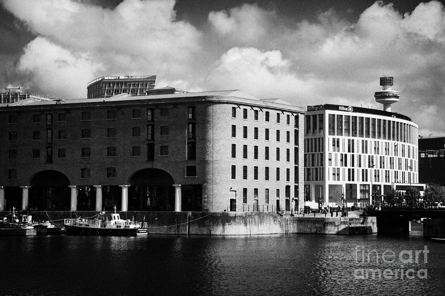 Old Historic Warehouse And The New Hilton Hotel At The Albert Dock Liverpool Merseyside England Uk Photograph  - Old Historic Warehouse And The New Hilton Hotel At The Albert Dock Liverpool Merseyside England Uk Fine Art Print
