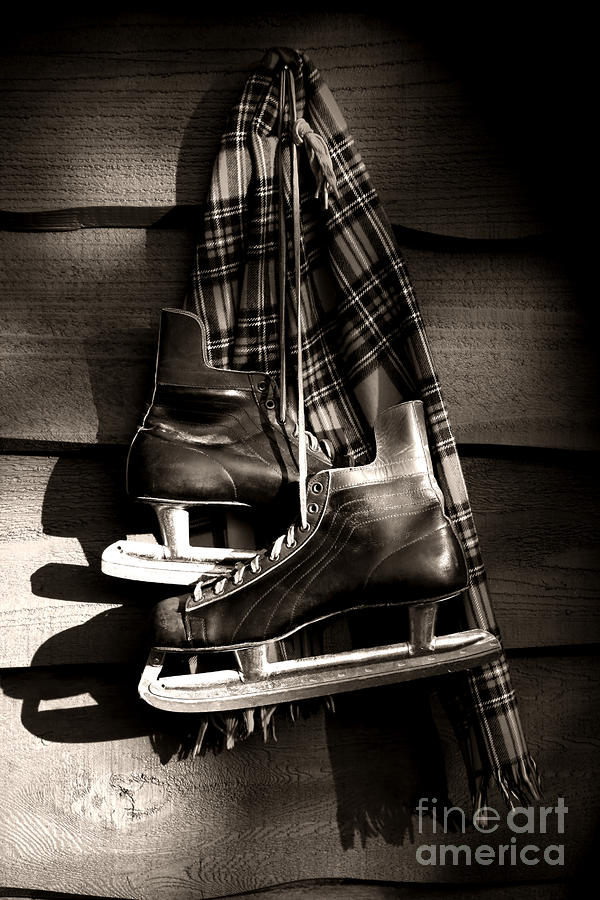 Old Hockey Skates With Scarf Hanging On A Wall Photograph  - Old Hockey Skates With Scarf Hanging On A Wall Fine Art Print