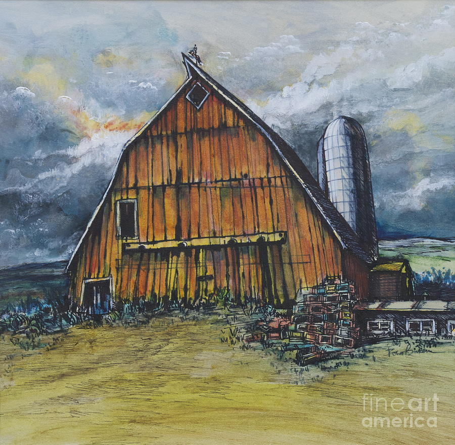 Old illinois barn with silo painting by robert birkenes for Watercolor barn paintings