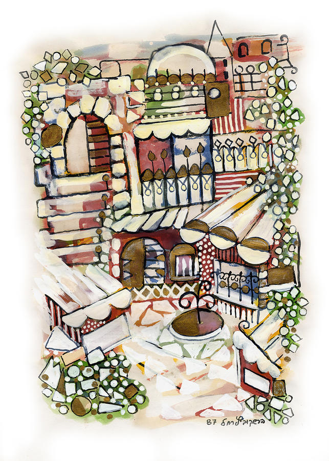 Old Jerusalem Courtyard Modern Artwork In Red White Green And Blue With Rooftops Fences Flowers Painting